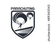 parachute  sky diving  aero... | Shutterstock .eps vector #489343543