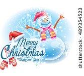 christmas sticker with a snowman | Shutterstock .eps vector #489354523