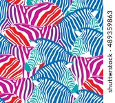 colorful zebra seamless pattern.... | Shutterstock .eps vector #489359863