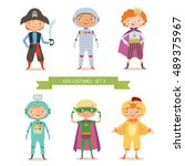 boys in different costumes for... | Shutterstock .eps vector #489375967