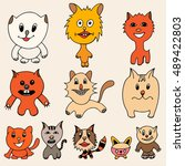 set of cute cat cartoon. vector ... | Shutterstock .eps vector #489422803
