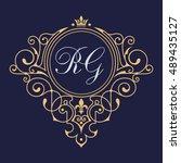 elegant floral monogram logo...   Shutterstock .eps vector #489435127