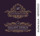 elegant floral monogram logo...   Shutterstock .eps vector #489435313
