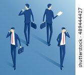 isometric business people ... | Shutterstock .eps vector #489444427