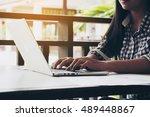 business woman using laptop... | Shutterstock . vector #489448867