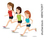 group girl running jogging... | Shutterstock .eps vector #489474397