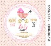 baby shower girl. vector... | Shutterstock .eps vector #489475003