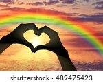 love. hand gesture in the form... | Shutterstock . vector #489475423