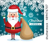 postcard with santa claus and...   Shutterstock .eps vector #489476707