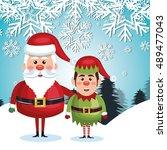 card santa elf landscape... | Shutterstock .eps vector #489477043