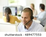 customer service operator... | Shutterstock . vector #489477553