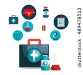 kit icons healthcare medicine... | Shutterstock .eps vector #489478513