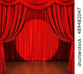 stage with red curtain  wooden... | Shutterstock . vector #489482047