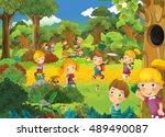 cartoon scene with kids having... | Shutterstock . vector #489490087