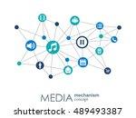 media mechanism concept. growth ... | Shutterstock .eps vector #489493387