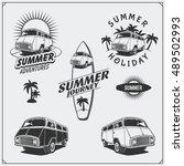 set of surf van labels  badges... | Shutterstock .eps vector #489502993