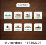 travel stickers. vector... | Shutterstock .eps vector #489503107