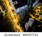 illuminated night city street...   Shutterstock . vector #489507733