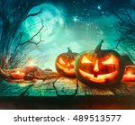 halloween background. spooky... | Shutterstock . vector #489513577
