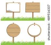 wood sign   illustration... | Shutterstock .eps vector #489516337