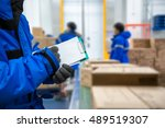 closeup shooting hand of worker ... | Shutterstock . vector #489519307