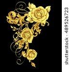 golden element with roses  ... | Shutterstock . vector #489526723
