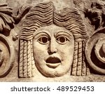 roman theatrical mask or...   Shutterstock . vector #489529453