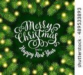 merry christmas hand lettering... | Shutterstock .eps vector #489533893