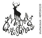 merry christmas hand drawn... | Shutterstock .eps vector #489534133