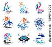 winter sport  logo and... | Shutterstock .eps vector #489541303