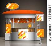 orange exhibition stand design... | Shutterstock .eps vector #489548857