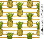 pineapple tropical vector... | Shutterstock .eps vector #489563137