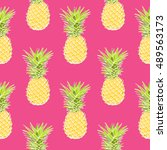 pineapple tropical vector... | Shutterstock .eps vector #489563173