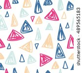cute doodle simple pattern with ... | Shutterstock .eps vector #489565183