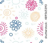 cute doodle simple pattern with ... | Shutterstock .eps vector #489565393
