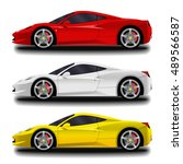 realistic sport car set. | Shutterstock .eps vector #489566587