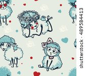 pattern with sheep. vector... | Shutterstock .eps vector #489584413