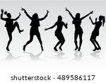 dancing women silhouettes. | Shutterstock . vector #489586117