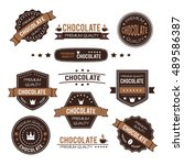 set of chocolate design logo... | Shutterstock .eps vector #489586387