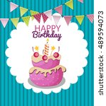 color glossy happy birthday... | Shutterstock .eps vector #489594073