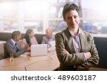 confident businesswoman smiling ...   Shutterstock . vector #489603187