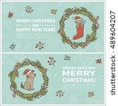 set of two cartoon christmas... | Shutterstock .eps vector #489604207