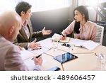 business meeting between three...   Shutterstock . vector #489606457