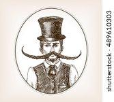 vintage gentleman with huge...   Shutterstock .eps vector #489610303