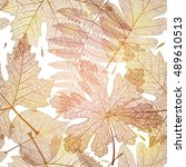 Seamless pattern with gold leaf, autumn leaves background. Vector