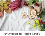 autumn leaves and dried apples... | Shutterstock . vector #489643453