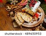 homemade christmas cake with...