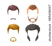 beards  mustaches and... | Shutterstock .eps vector #489658447