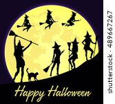 halloween background with... | Shutterstock .eps vector #489667267
