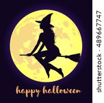 beautiful young witch in hat... | Shutterstock .eps vector #489667747
